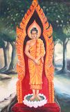 Pintura mural da biografia de Buddha Imagens de Stock Royalty Free