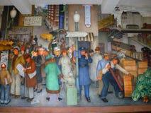 Pintura mural da cena da rua dentro de Torre de Coit, San Francisco Imagens de Stock Royalty Free