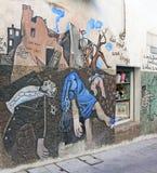 Pintura mural da parede em Orgosolo, Sardinia Foto de Stock Royalty Free