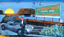 Pintura mural da rota 66 em Tucumcari, New mexico Fotografia de Stock