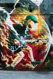 Pintura mural de Angus Young na pista de AC/DC, Melbourne Foto de Stock
