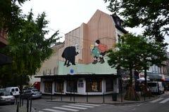 Pintura mural de la historieta en Bruselas, Bélgica Fotos de archivo libres de regalías