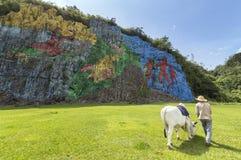 Pintura mural de la Prehistoria em Vinales Foto de Stock
