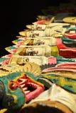 Pintura mural de madeira hinduistic do woodcarving colorido do balinese Imagem de Stock