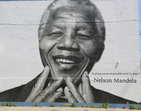 Pintura mural de Nelson Mandela na seção de Williamsburg em Brooklyn Foto de Stock Royalty Free
