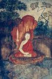 Pintura mural del budismo histórico antiguo en Wat Uposatharam Temp fotografía de archivo libre de regalías