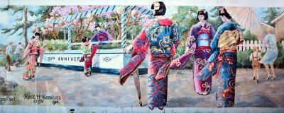 A pintura mural diz a história de Chemainus Foto de Stock Royalty Free