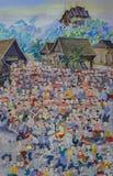 Pintura mural do estilo tailandês antigo de Lanna da cerimônia budista da classificação do principiante foto de stock royalty free