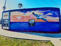 Pintura mural do pelicano Fotografia de Stock Royalty Free