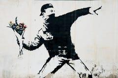 Pintura mural do protesto de Banksy em Palestina Fotografia de Stock