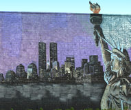Pintura mural do tributo de New York City Fotografia de Stock