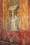 Pintura mural em Roman Villa Poppaea, Itália da fonte fotografia de stock