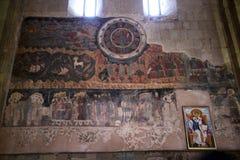 Pintura mural em Svetitskhoveli & em x28; Coluna viva Cathedral& x29; em Mtskheta, Geórgia Imagem de Stock