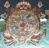 Pintura mural en el Trashi Chhoe Dzong, Timbu, Bhután Imagen de archivo libre de regalías