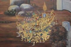 Pintura mural en la pared de Emerald Buddha Temple en Bangkok, tailandesa Imagen de archivo