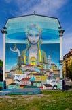 Pintura mural impressionante em Kiev Ucrânia Fotografia de Stock Royalty Free