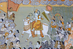 Pintura mural indiana colorida no forte a imagens de stock