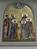 Pintura mural: Mártir de Brancoveanu fora de St Georges Church, Bucareste Imagens de Stock Royalty Free