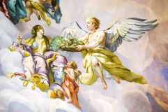 Pintura mural na parede em Karlskirche Fotos de Stock