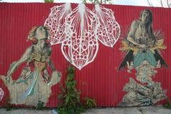 Pintura mural na seção vermelha do gancho de Brooklyn Foto de Stock