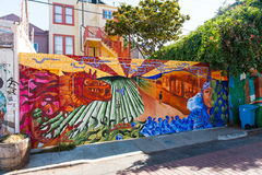Pintura mural na vizinhança do distrito da missão em San Francisco Fotos de Stock Royalty Free