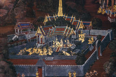 Pintura mural no palácio real de Banguecoque Tailândia Imagem de Stock Royalty Free
