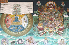 Pintura mural no Trashi Chhoe Dzong, Thimphu, Butão imagens de stock