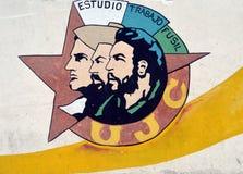 Pintura mural para a liga comunista nova (cubana) em Havana, Cuba Fotografia de Stock Royalty Free