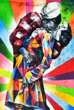 Pintura mural pelo artista Kobra de Brazilian do artista fotografia de stock