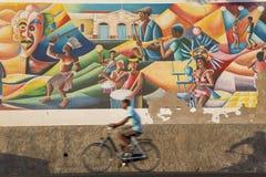 Pintura mural que comemora a cultura de, Mindelo, Sao Vicente Fotografia de Stock