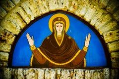 Pintura mural religiosa na igreja foto de stock