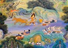 Pintura mural tailandesa Fotos de archivo libres de regalías