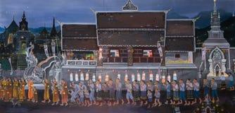 Pintura mural tailandesa de la procesión de la luz de una vela de la ceremonia budista Fotos de archivo libres de regalías