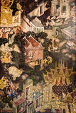 Pintura mural tailandesa em Banguecoque, Tailândia Fotografia de Stock Royalty Free