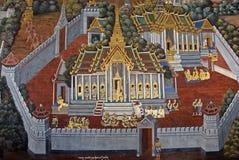 Pintura mural tailandesa en la pared, Wat Phra Kaew Imagen de archivo
