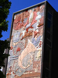 Pintura mural telhada em Burnley em Lancashire Inglaterra Fotografia de Stock Royalty Free