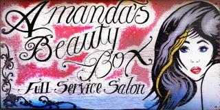 Pintura mural velha da parede do salão de beleza do vintage ilustração do vetor