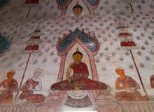 Pintura na parede da igreja, Tailândia Imagens de Stock