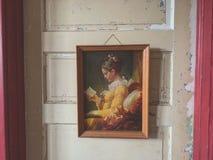 Pintura na porta velha fotografia de stock