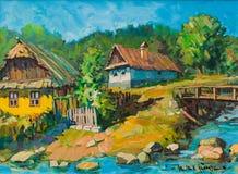 Pintura natural y agradable de la vida del pueblo Imagen de archivo libre de regalías