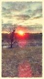 Pintura nerviosa de la salida del sol de la mancha de la acuarela Imagen de archivo libre de regalías