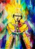 Pintura no papel velho Fundo da cor do mosaico Joana do arco simbólico Conceito da mulher do guerreiro Mulher com espada ilustração do vetor