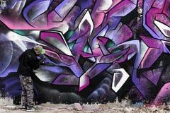 Pintura no preto e no rosa da parede Fotos de Stock