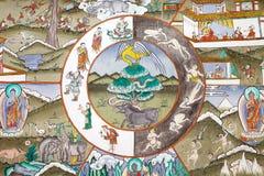 Pintura no Trongsa Dzong, Trongsa, Butão Fotos de Stock Royalty Free