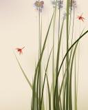 Pintura oriental del estilo, hierbas altas y flores Foto de archivo libre de regalías