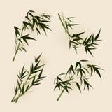 Pintura oriental del estilo, hojas del bambú stock de ilustración