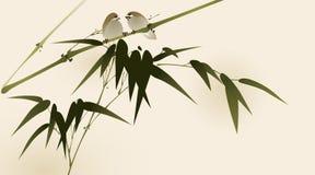 Pintura oriental del estilo, ramificaciones de bambú Imagen de archivo