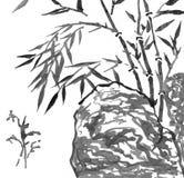 Pintura oriental do estilo, ramos de bambu e pedra ilustração stock