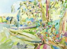 Pintura original da aquarela da paisagem do verão Foto de Stock