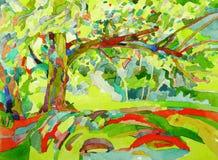 Pintura original da aquarela por uma árvore Imagem de Stock Royalty Free
